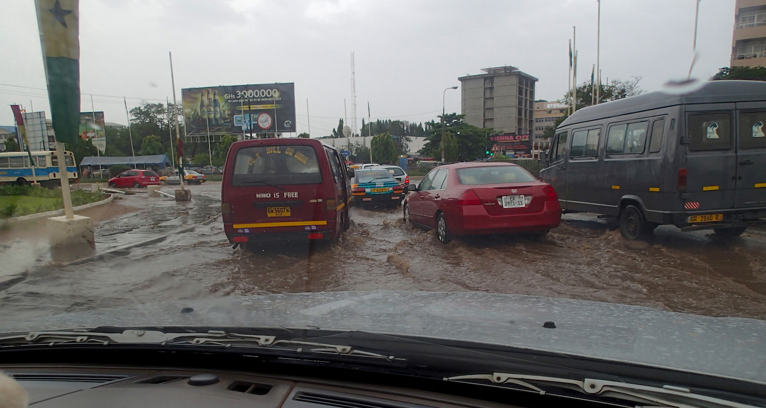 Ghana's roadways are tough. In the rainy season, roads become rivers of mud. The good news is that the water hides the potholes. The bad news is that the water hides the potholes.