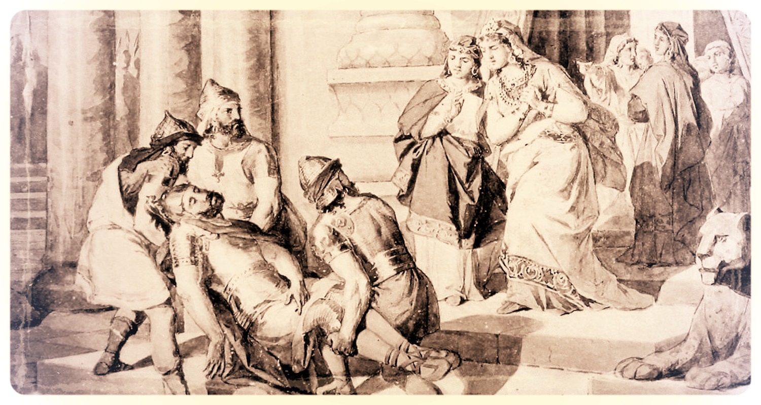The body of Ara is brought to Shamiram (Image from Wikimedia.org).