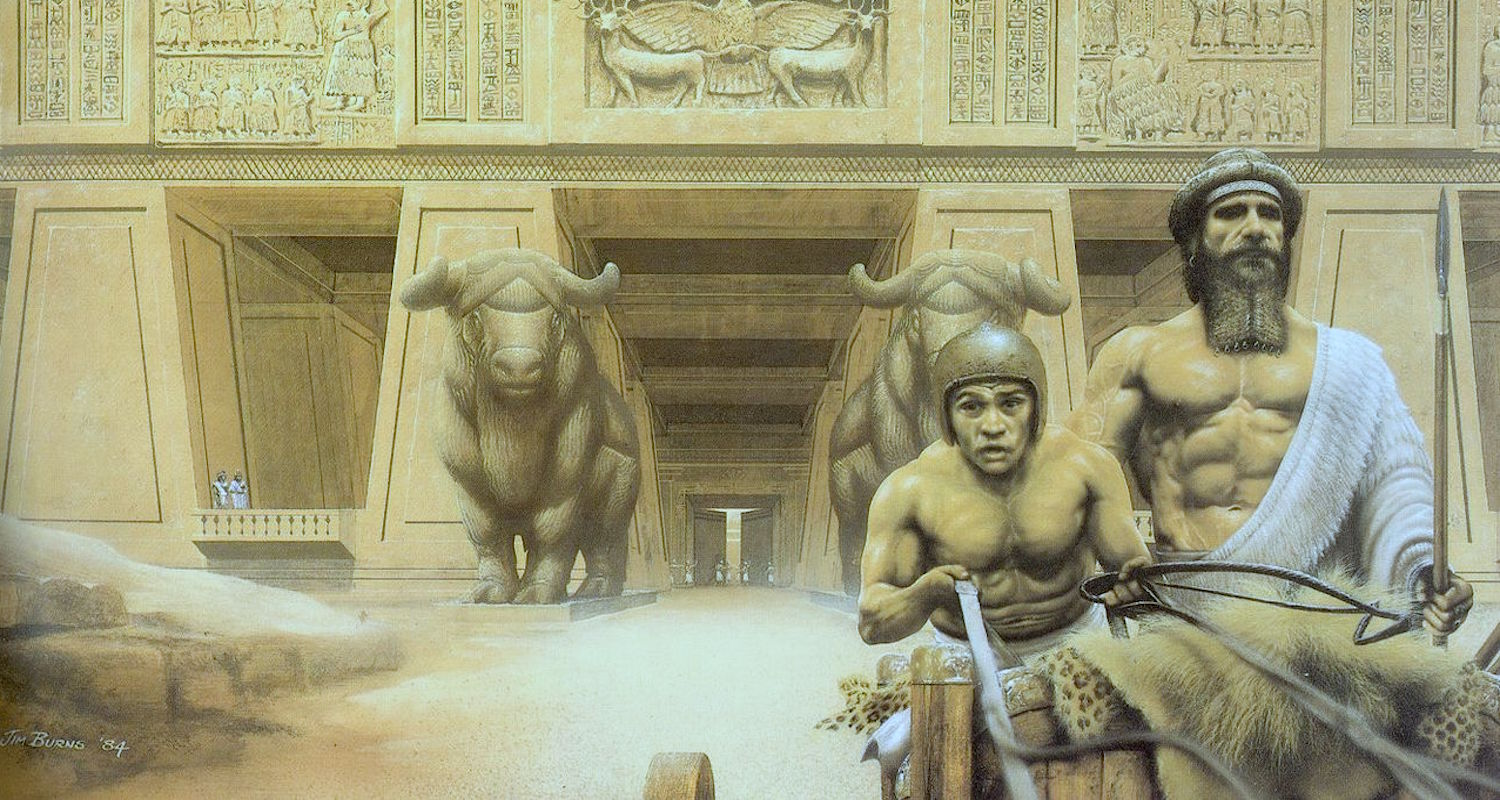 "I know. I know. It is Jim Burns' imaginative presentation of Gilgamesh the king. But certainly Nimrod (""the proud"") would have liked to be remembered like this. Image from  here ."
