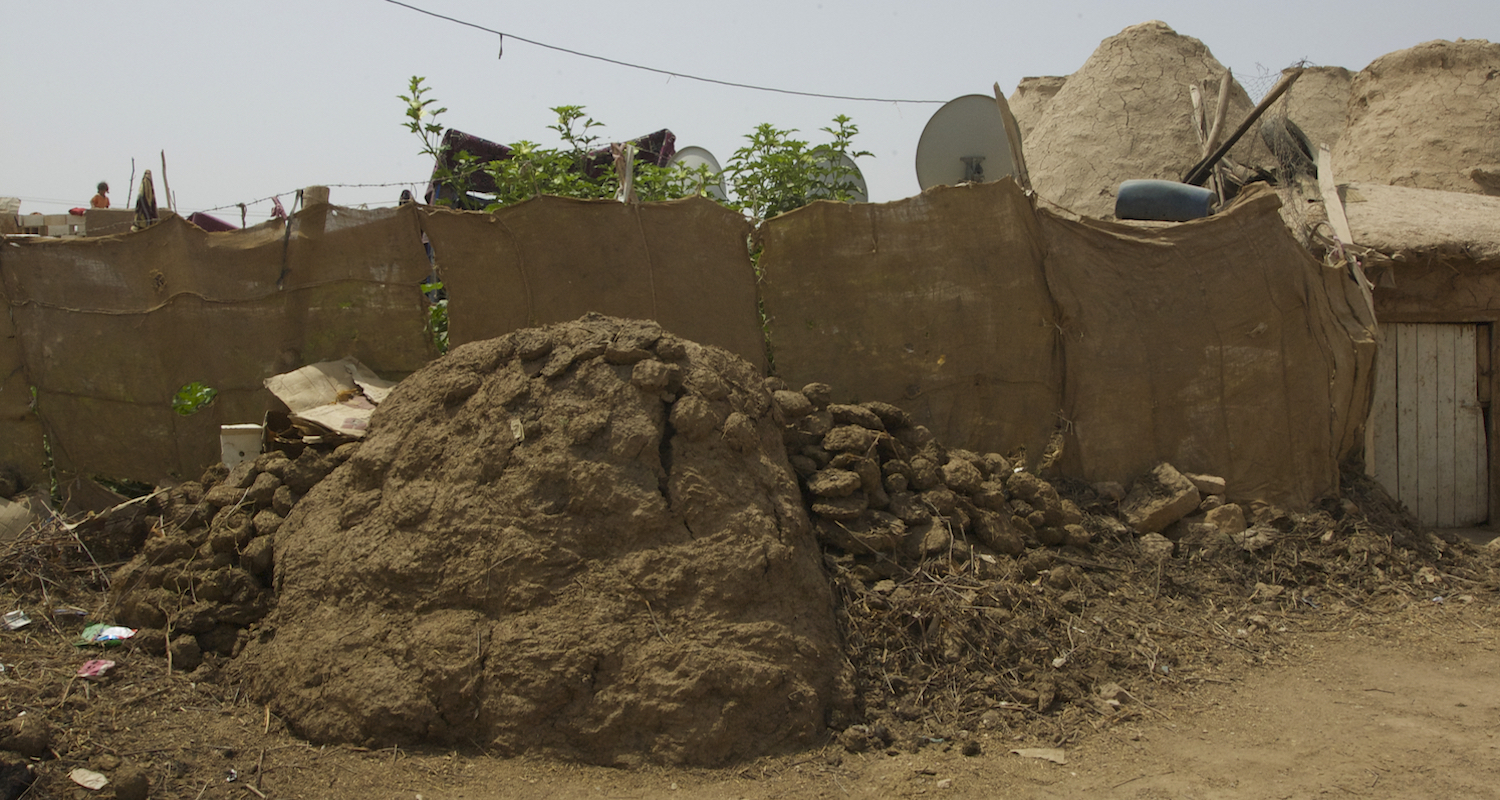 An enormous mound outside the door.