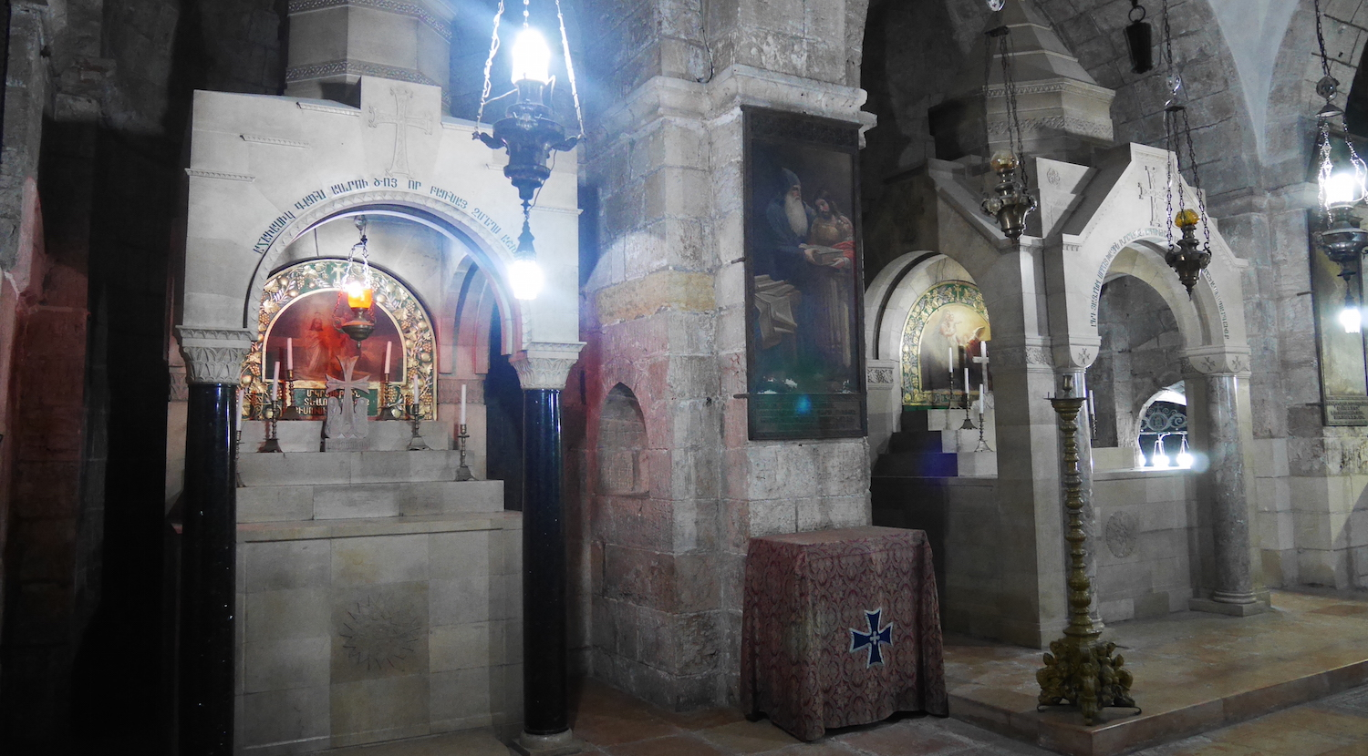 The Altar of Demas (left); the Altar of Helena (right).