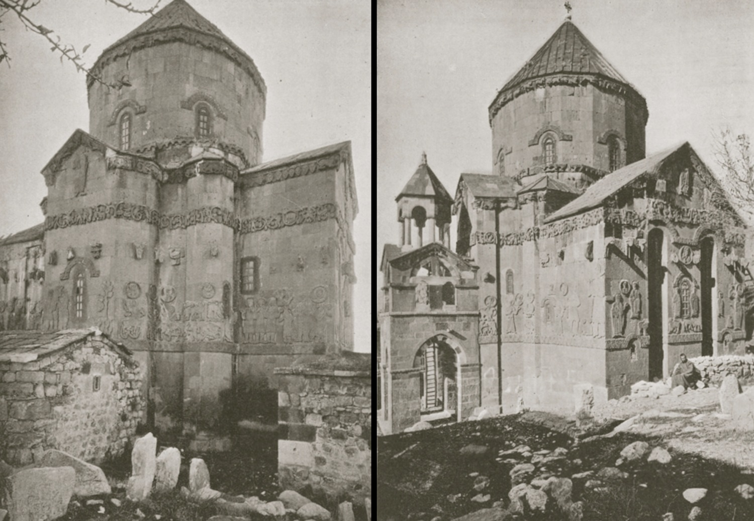 Two views to the exterior of the Church of the Holy Cross pictured more than a century ago. From Lynch (1901: Fig 142 left and Fig 141 right).