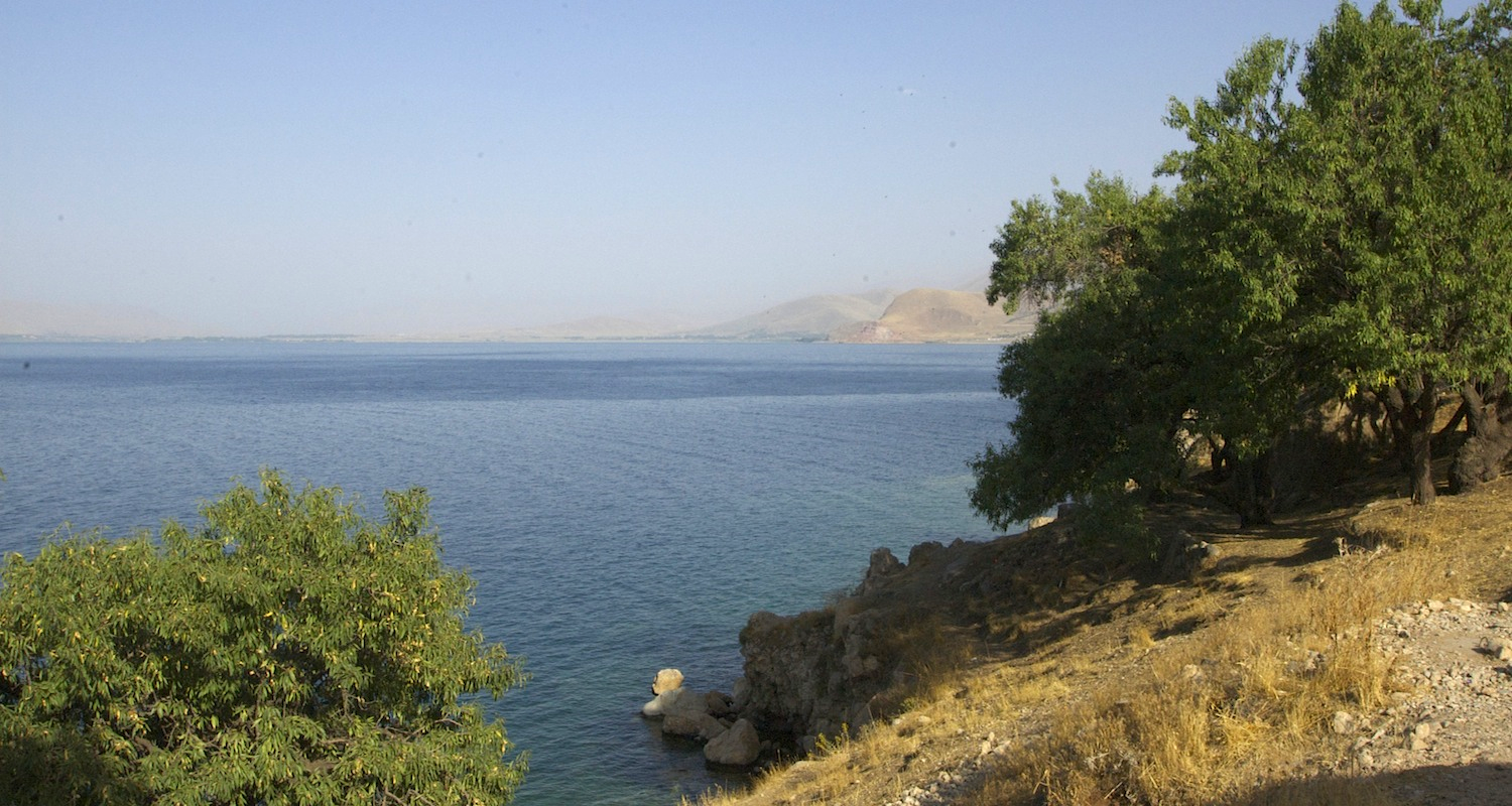 View from Aghtamar Island back to the mainland. Yes, they are almond trees.