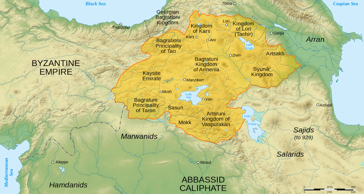 The location of Armenia and its neighbors in the year 1000. Lake Van is in the center of the image. This map may be found  here .