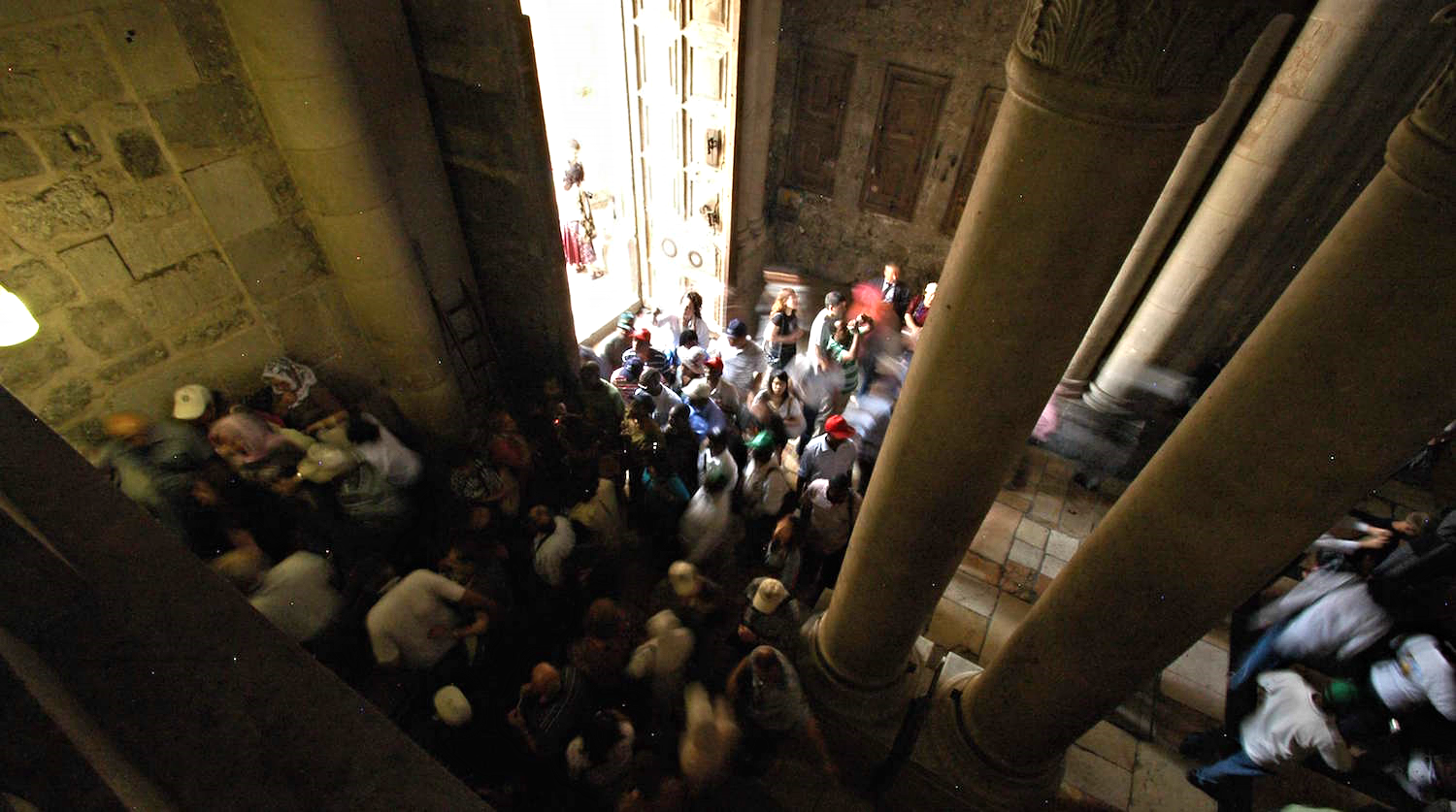 Crowds gather at the entryway to the Church of the Holy Sepulcher.