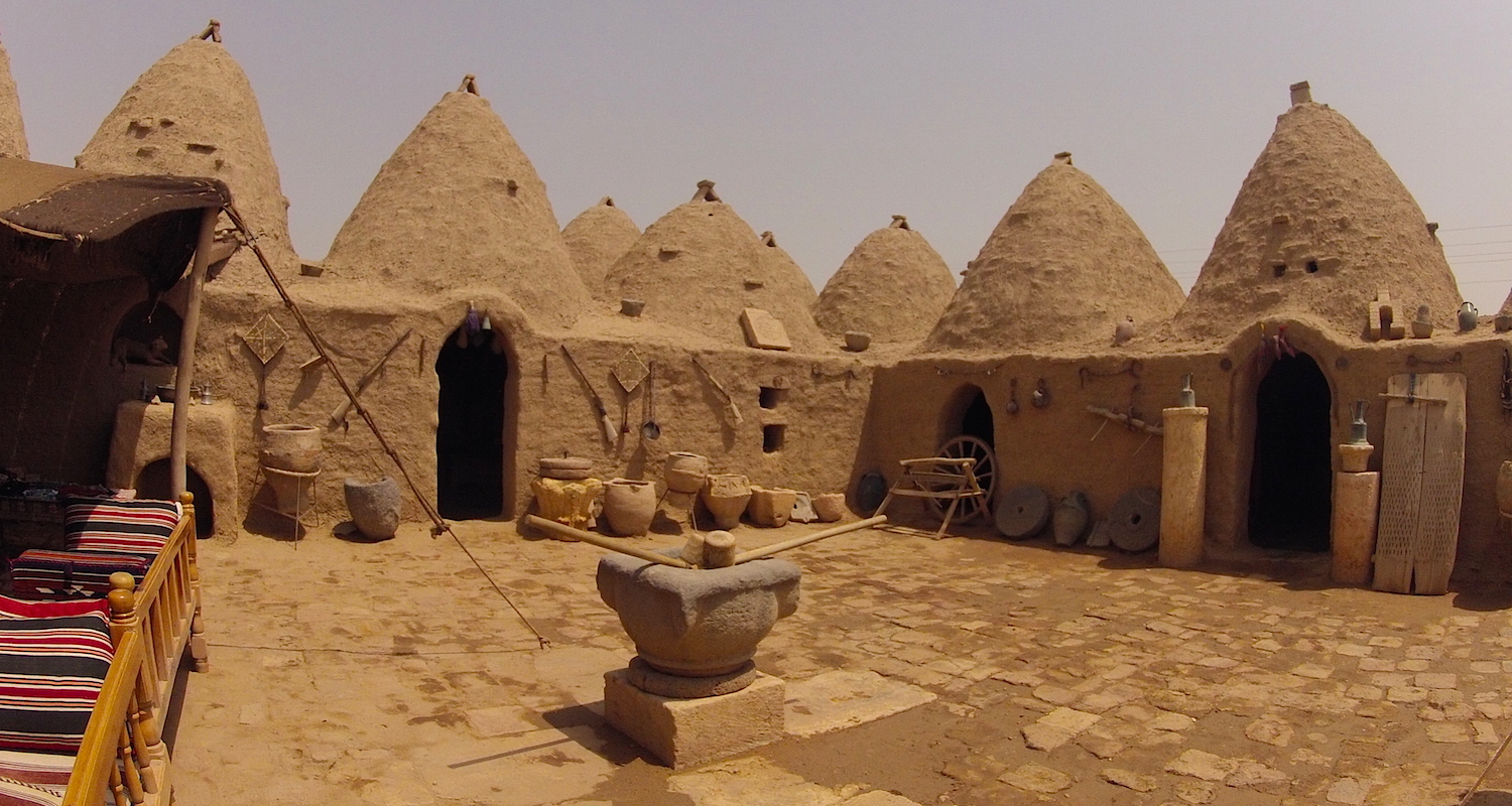 "The central courtyard of a ""display home"" in Haran."