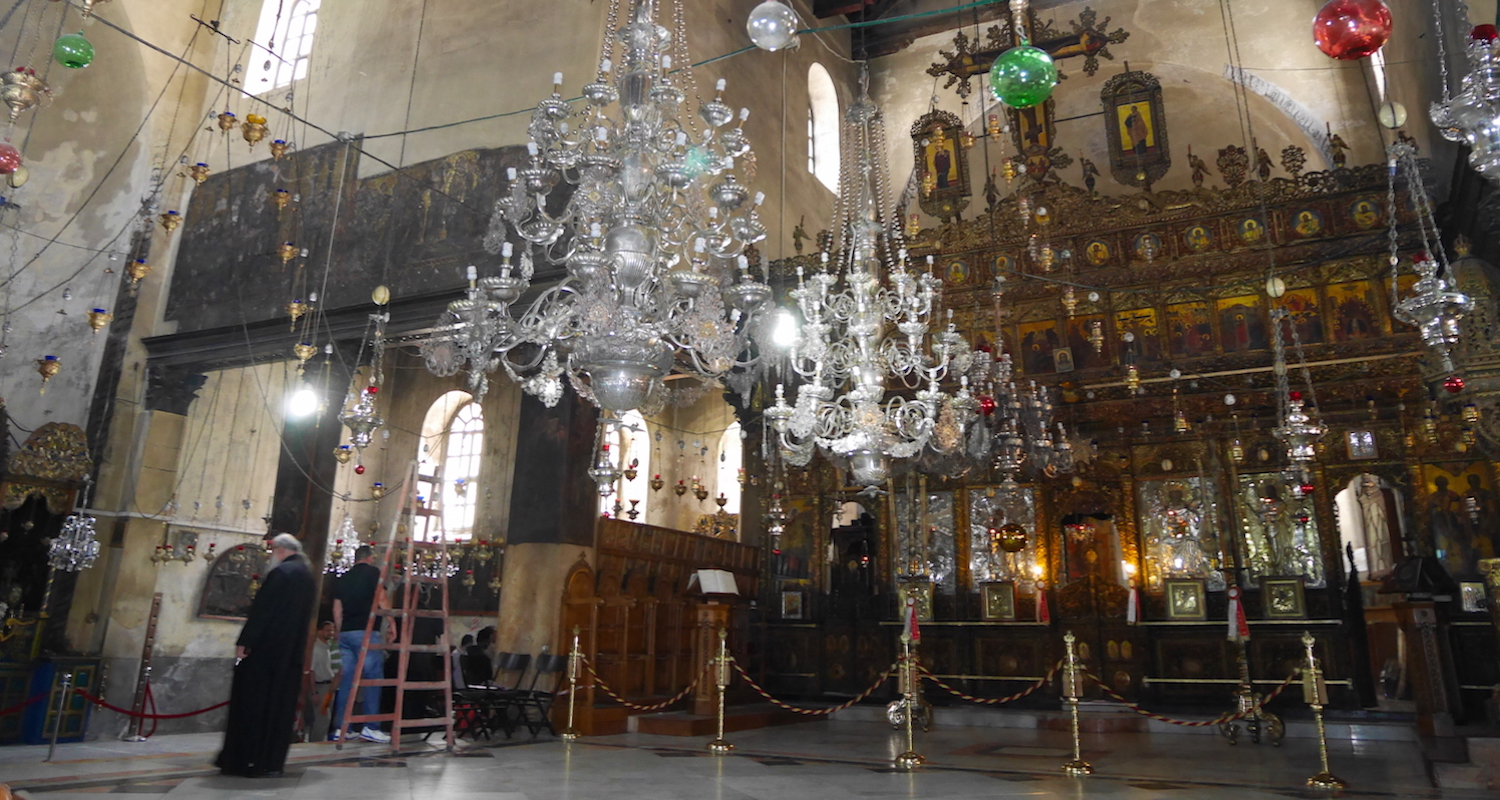 The altar area inside the Church of the Nativity. Image taken on the morning of the fire. Image from Ron Vance.