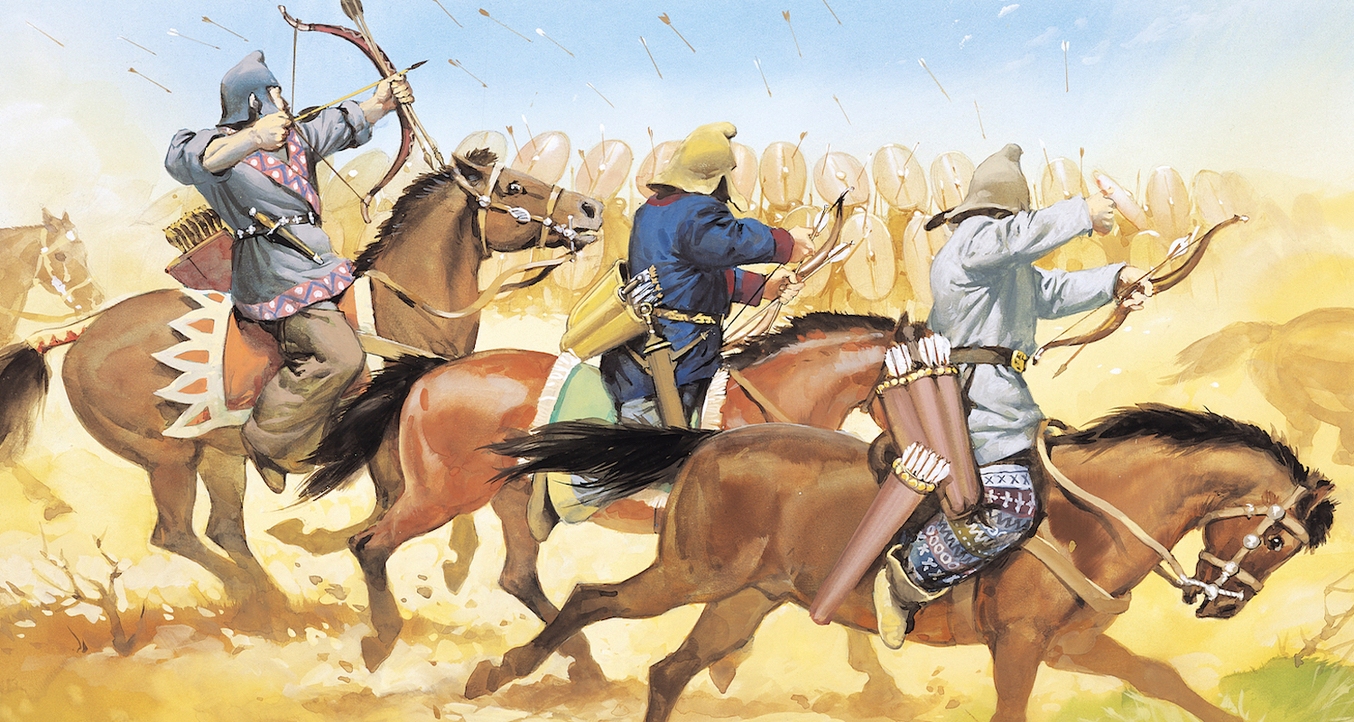 The Roman army suffered an ignominious defeat at the hands of the Parthians at Carrhae. This depiction of the Parthian cavalry is found  here .