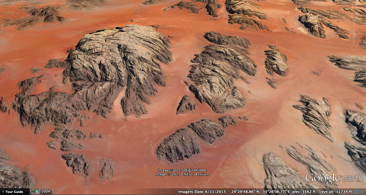 "Ridley Scott's ""red planet"" can be visited by means of Google Earth. It is located directly east of the northern tip of the Gulf of Aqaba. To view, plug in these coordinates: 29 34 48 N, 35 25 23 E. Image courtesy of Google Earth."