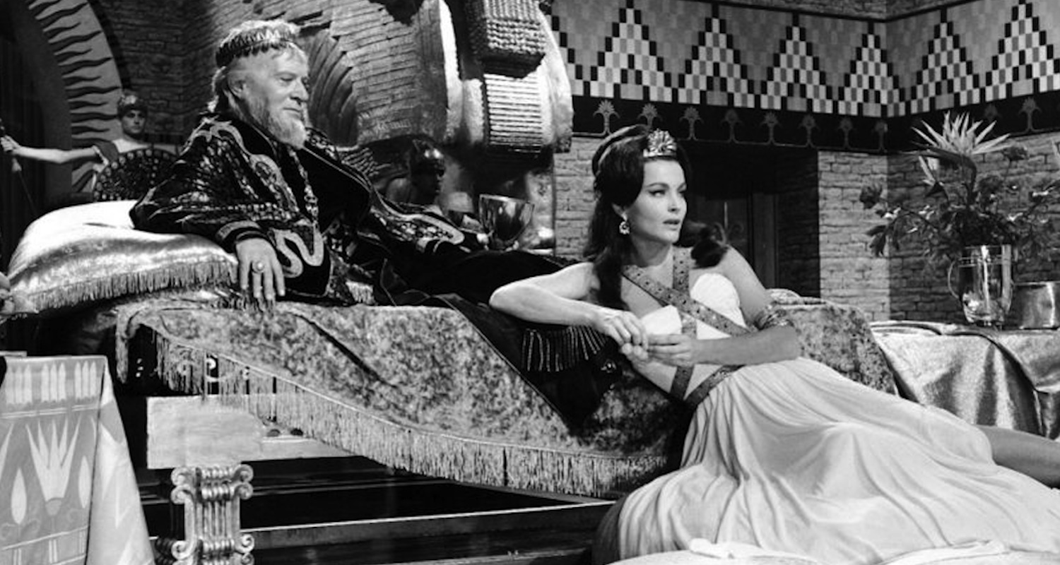 """Still from the 1963 movie, """"Slave Queen of Babylon."""" Yvonne Furneaux plays the role of Semiramide. Image from  here . Accessed Oct 31, 2015."""