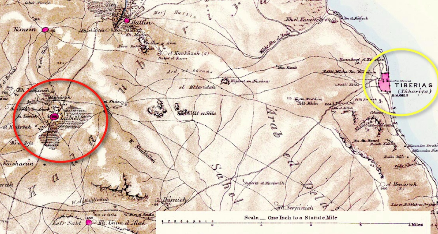 Detail from the late 19th century Conder-Kitchener Survey of Western Palestine. Lubya is inside the red circle, Tiberias is inside the yellow circle. The Sea of Galilee is to the right.
