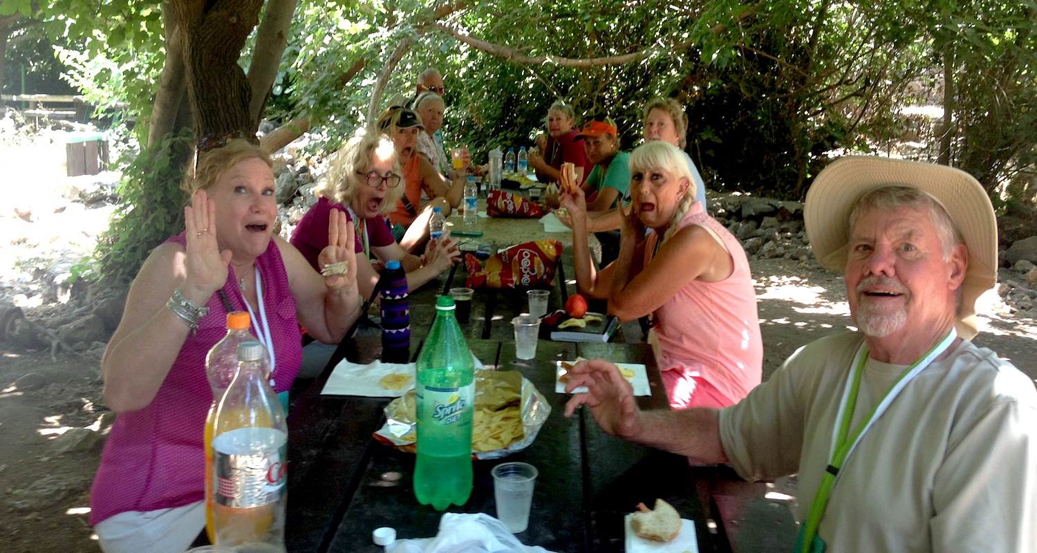 Muster your mustard! Picnic at the park in Banias (biblical Caesarea-Philippi), Israel-Palestine.
