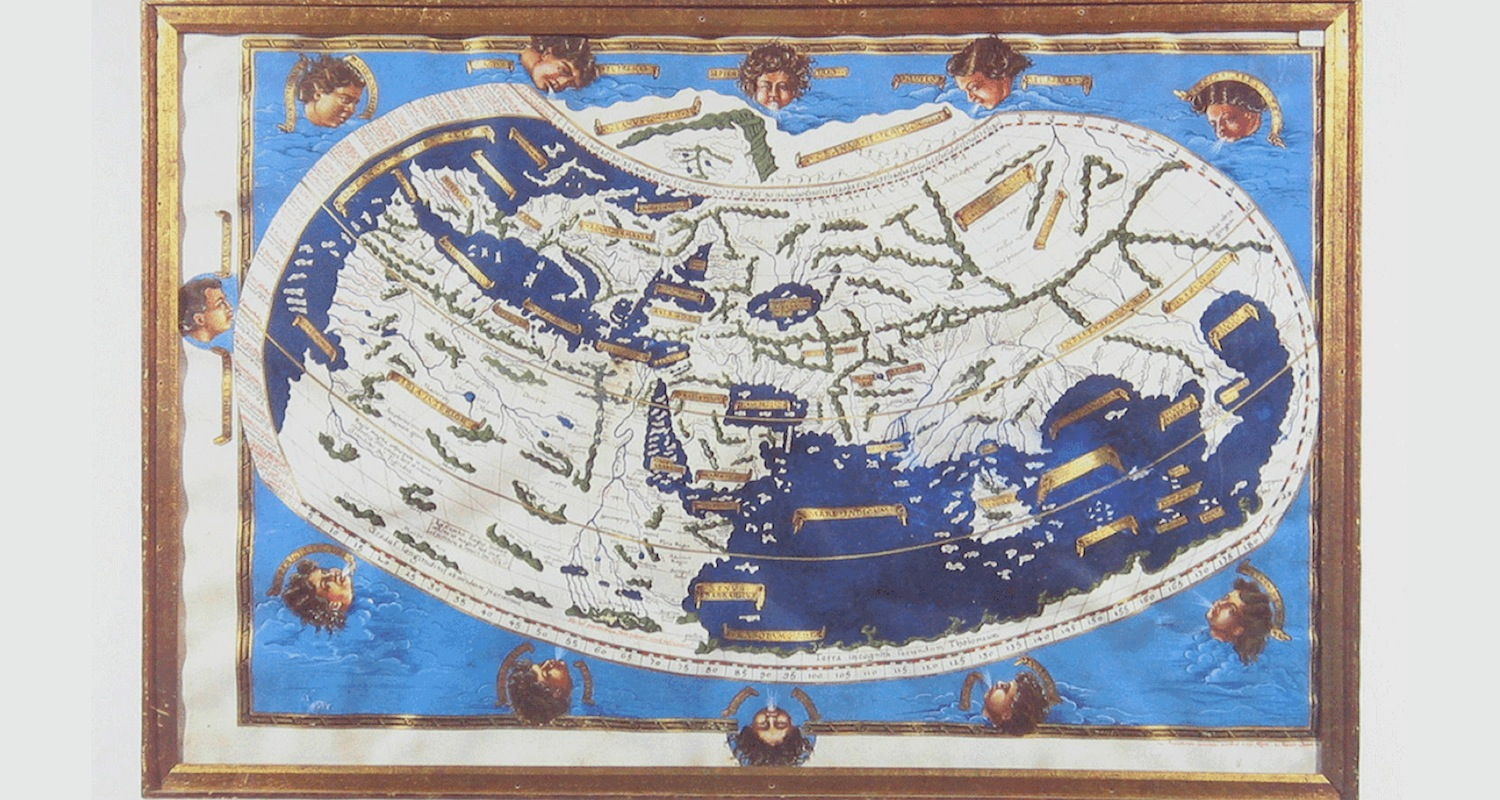 "A mappamundi (""world map"") drawn according to the instructions of Strabo (a first century contemporary of Jesus). Note how the known world   consists of a single landmass that stretches from the Iberian to the Indian peninsulas. Ideas of the classicists such as Strabo and Ptolemy continued to exert force into the medieval period. This map represents the ""state of the art"" when Columbus was contemplating his voyage. Image from  here  ."