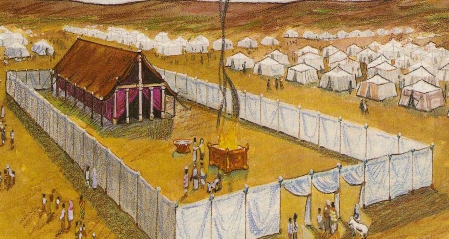 The tabernacle complex was simple and portable. It consisted of a tent pitched in the midst of an open courtyard. The Ark of the Covenant rested inside the tent. Outside,sacrifices were performed by priests. The camp of the people circled the complex like an army surrounding a king. Image from  here .