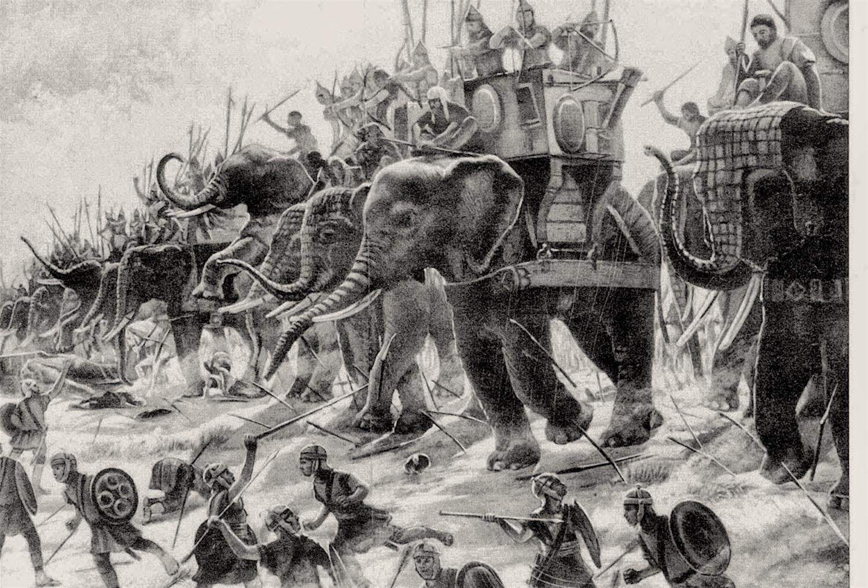 Carthaginian war elephants in battle.Image from  here.