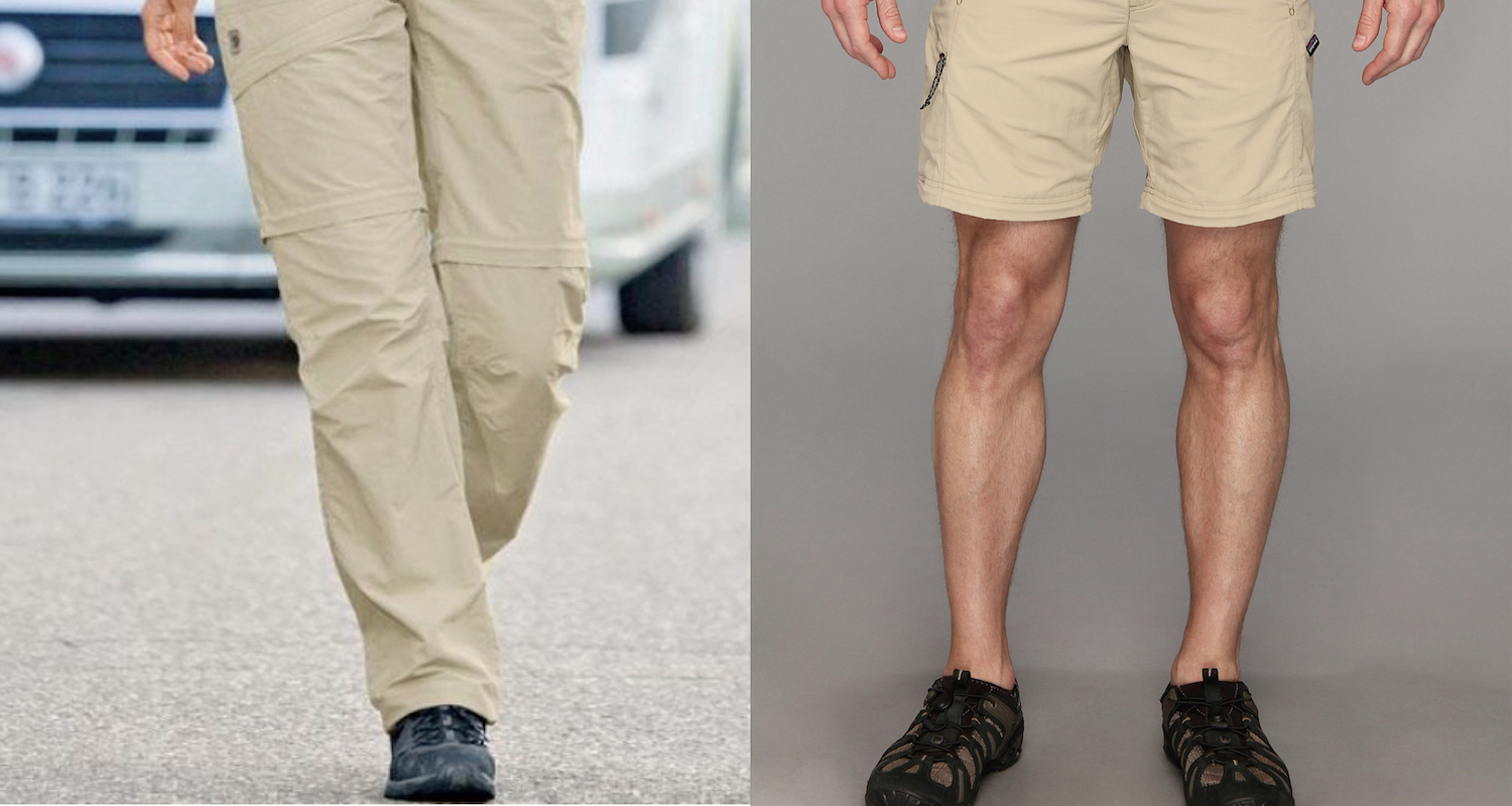 Zip-off pants are always stylish in my universe. Left, image from  here .Right, image from  here  .