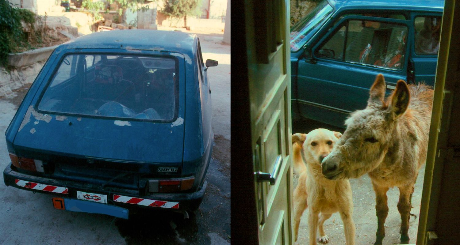"Left: The hot garish ride was discovered sporting blue tags after our period of ""ownership"" was over. Right: Two of our favorite friends come for a visit. That is Yeller and Donkey Dan in the front door to our flat. Note the colorful seat covers inside the Fiat."