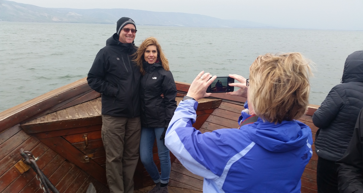 Josanne captures a moment with Steve and Dodie on the Sea of Galilee.