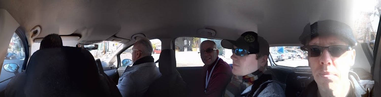 In the car. Left to right: George, Rick, Mike, James, and me.