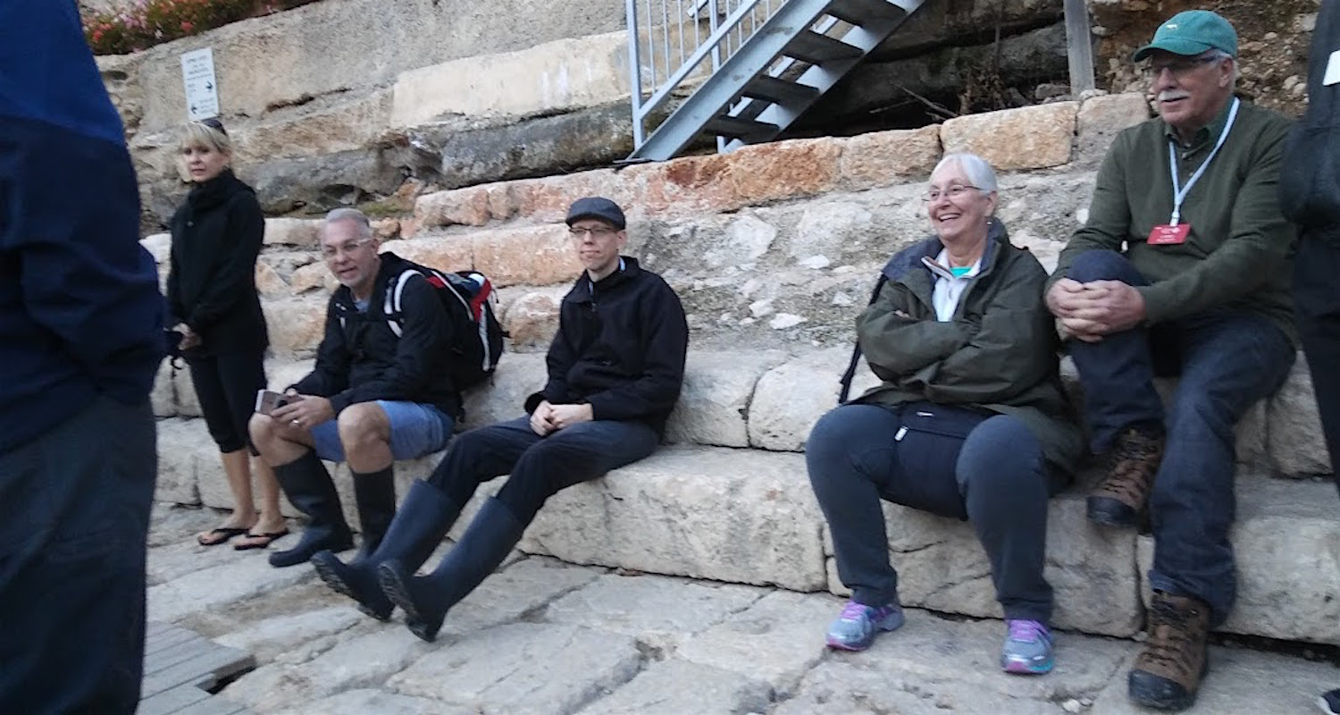 Me and Rick sporting our boots after a successful passage through Hezekiah's Tunnel.