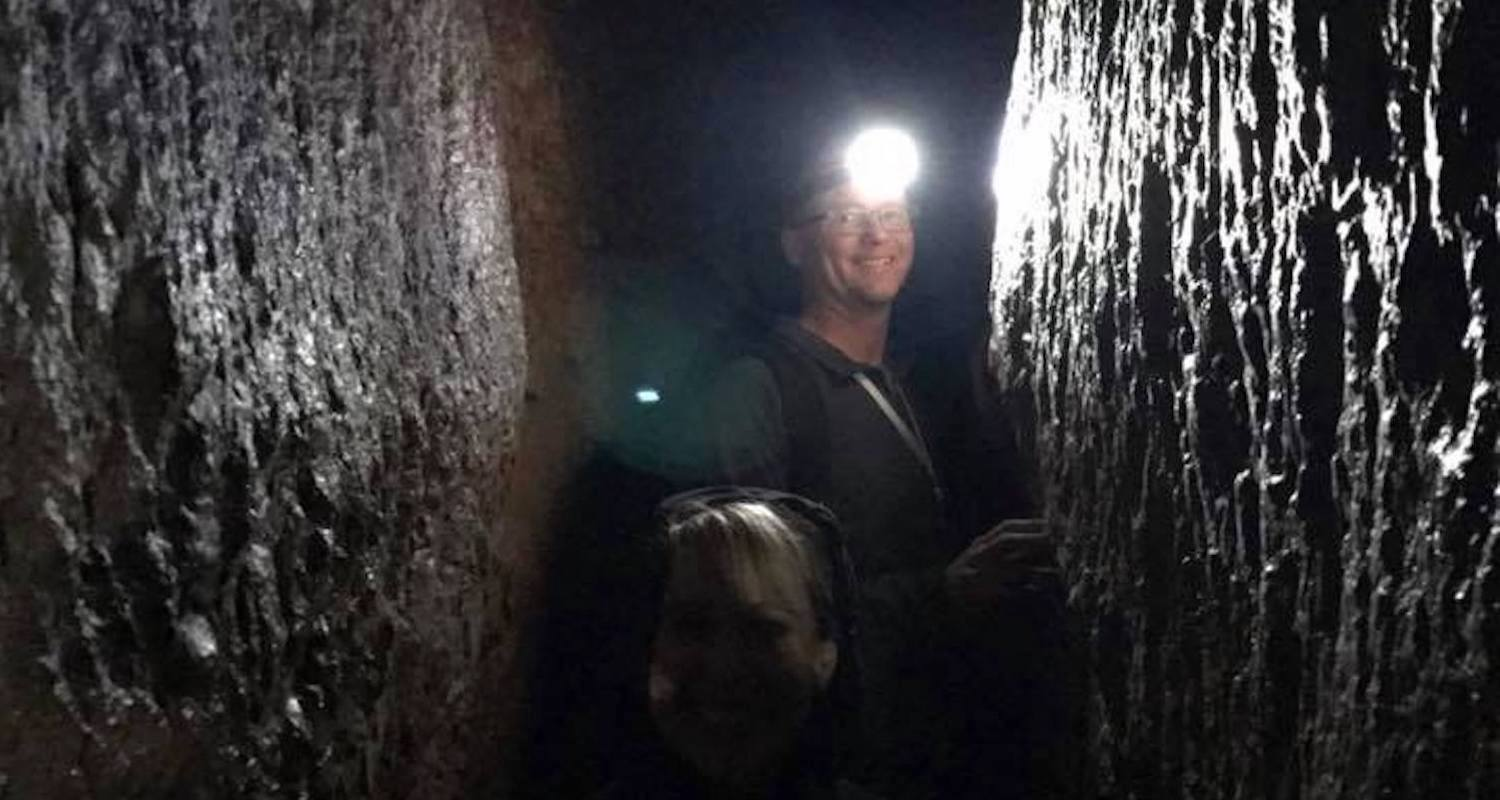 Steve and Wendy in Hezekiah's Tunnel. There are no lights in this tunnel dug through limestone with human hands. The tunnel carried drinking water to Jerusalem's ancient inhabitants. The system still works after all these years; you walk through running water about mid-thigh deep. Shoes and lights are not provided.