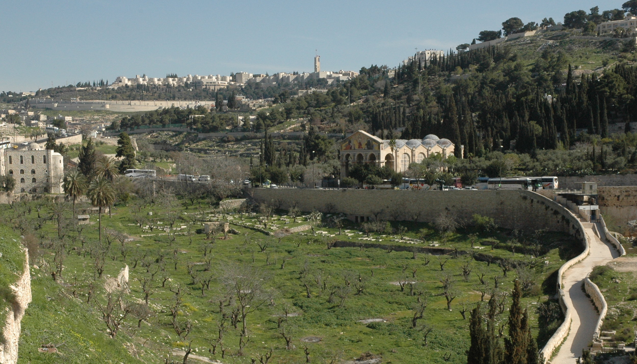 The physical context of the Church of All Nations (capped with several grey domes in center-right). The structure sits at the base of the Mt of Olives (right) facing the Kidron Valley (center) and the Old City of Jerusalem (off screen, left). Image by Mark Ziese.