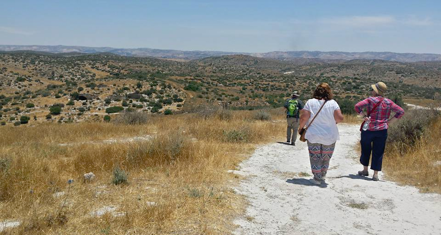 Hiking one of the trails at Beth Guvrin (   Maresha   ).