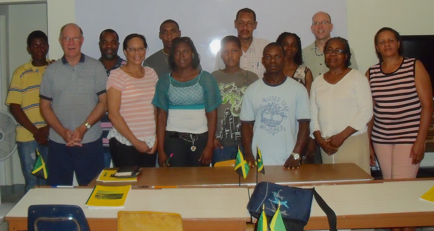 Mike (back row, right) and members of one of his classes at the Jamaica Bible Seminary.