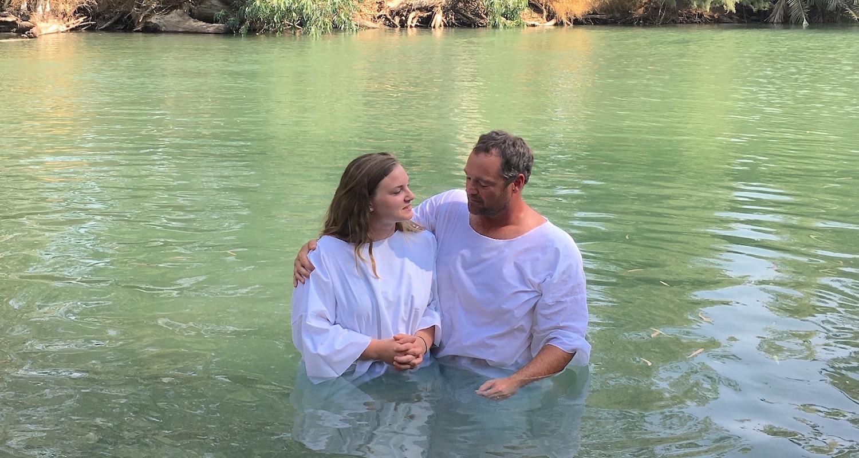 Kevin Humphrey baptized his daughter, Ellie, in the Jordan River.