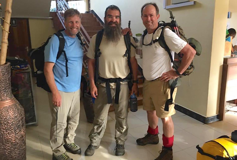 Three hearty climbers.