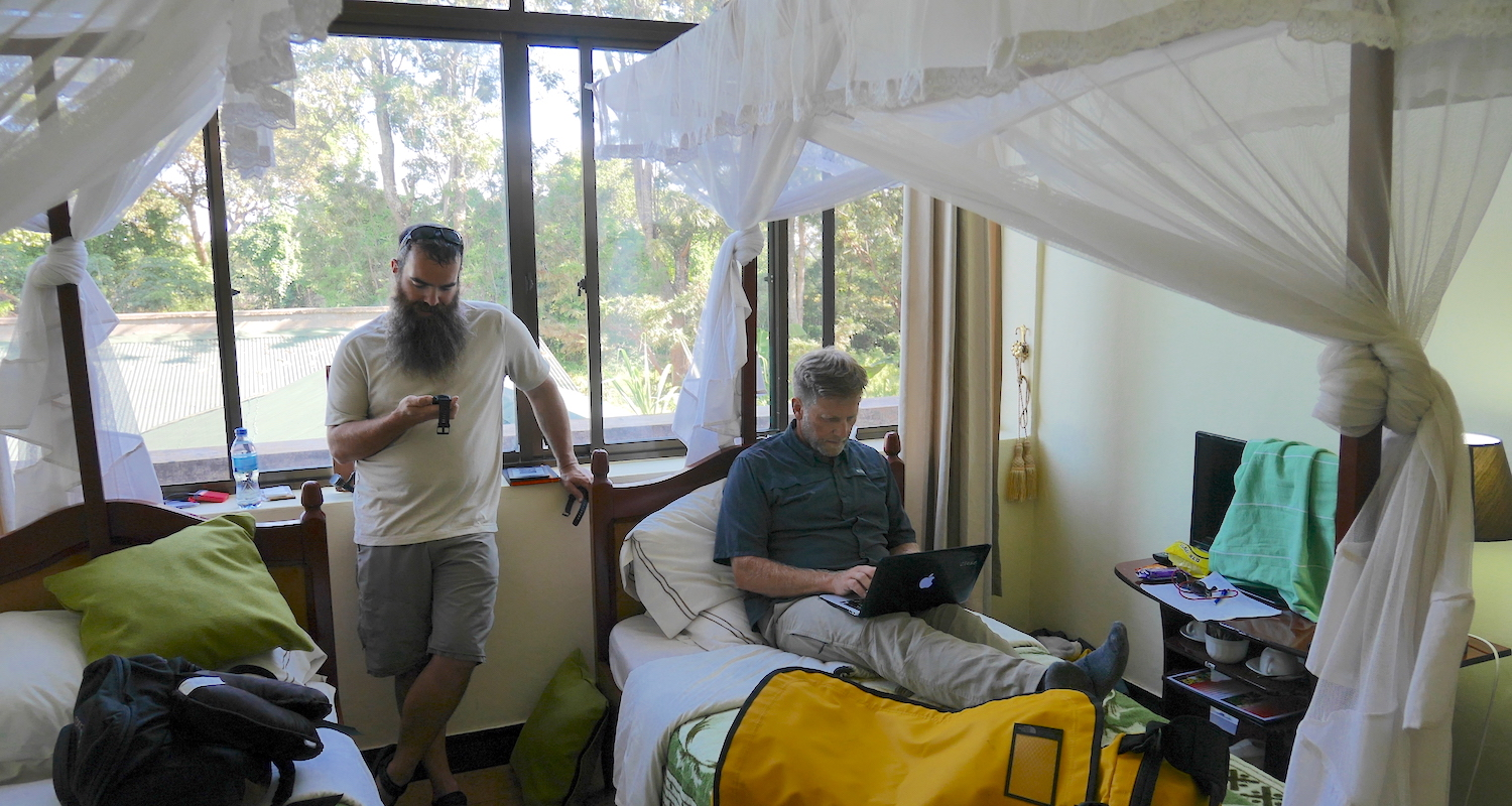 In gear up mode, we send our last wills and testaments to loved ones on the other side of the globe. The frilly curtains around the beds have practical use; they slow the blood-hunting mosquitos in an area where malaria is a serious problem.
