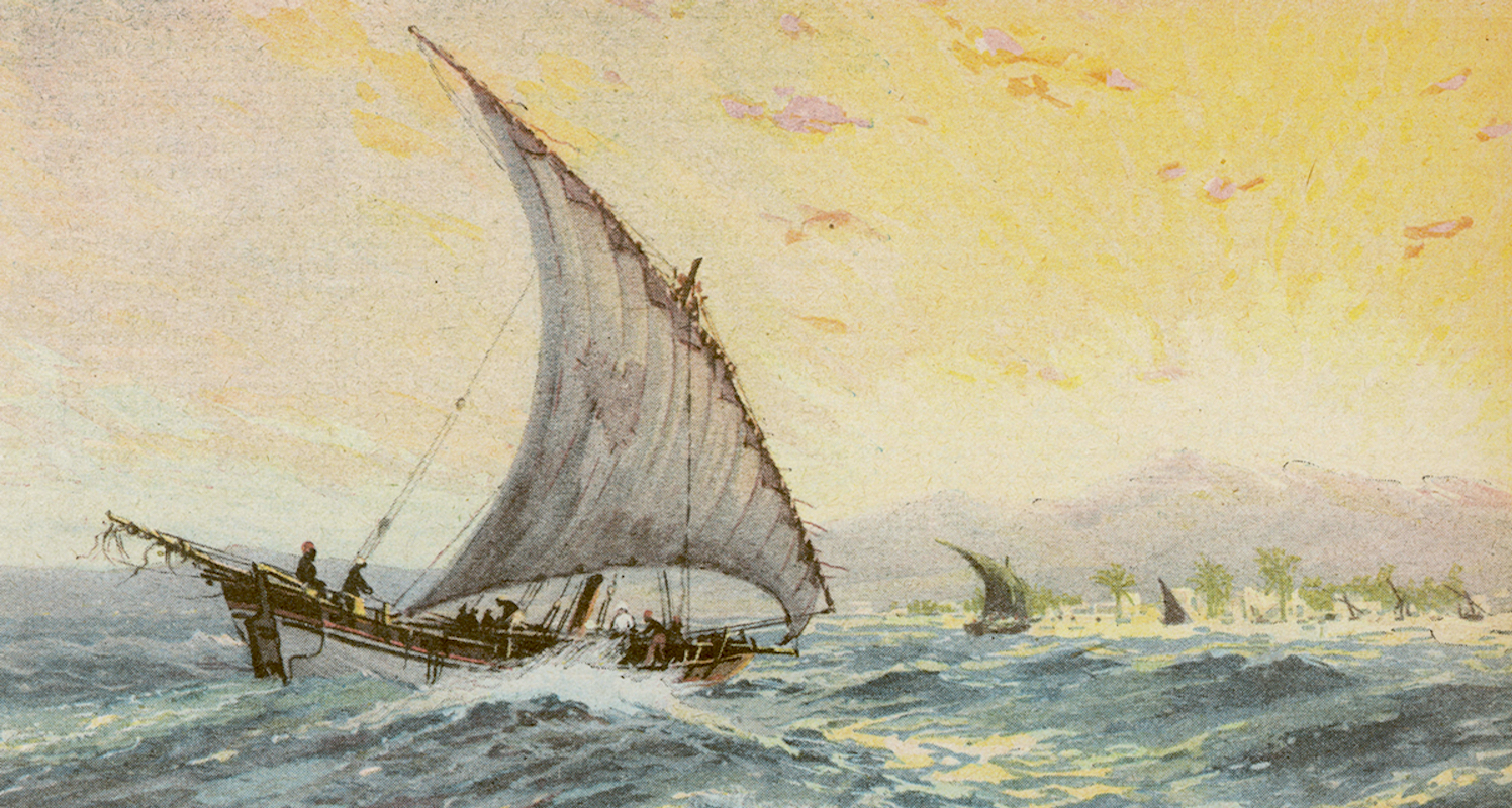 A dhow sails along the East African coast. Image from    here.