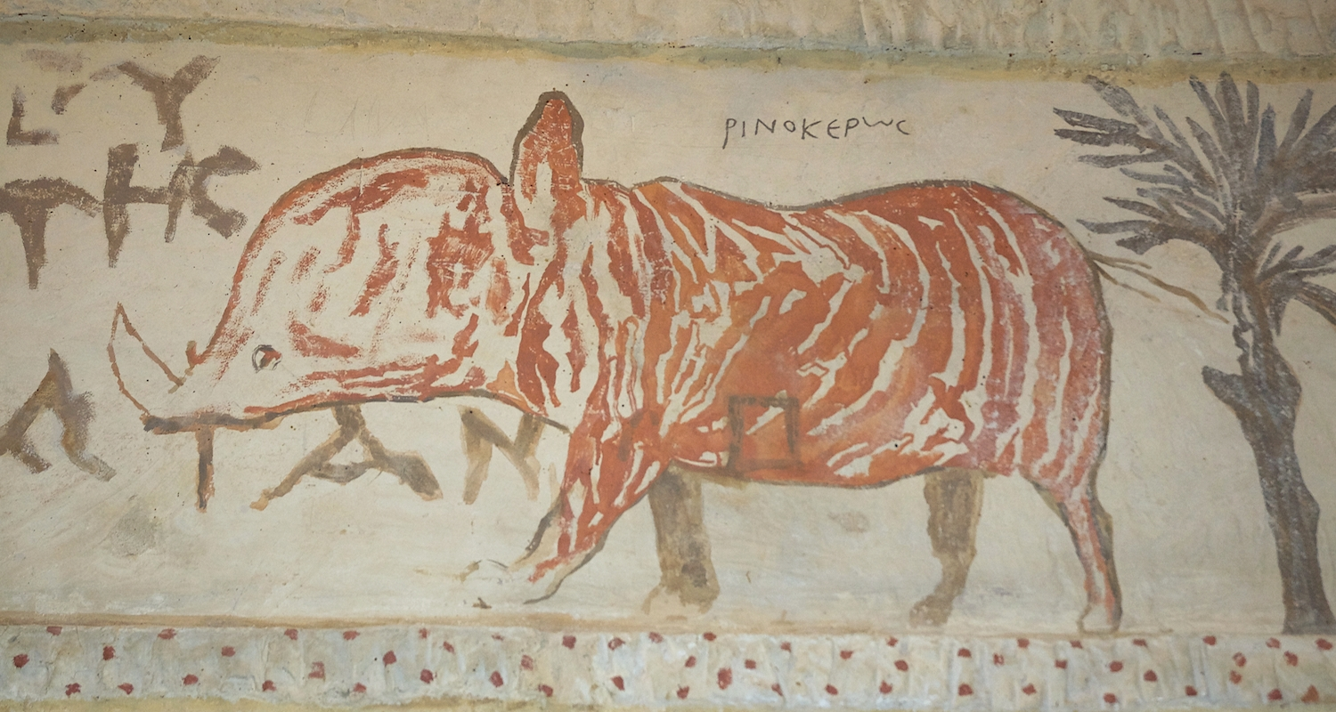This depiction of a rhinoceros adorns the Hellenistic era Tomb of Apollophanaes at the site of Beth Guvrin (Eleuthropolis) in Israel-Palestine. It is unlikely that the artist ever saw a rhino with his own eyes, but I think he did a lovely job, don't you?