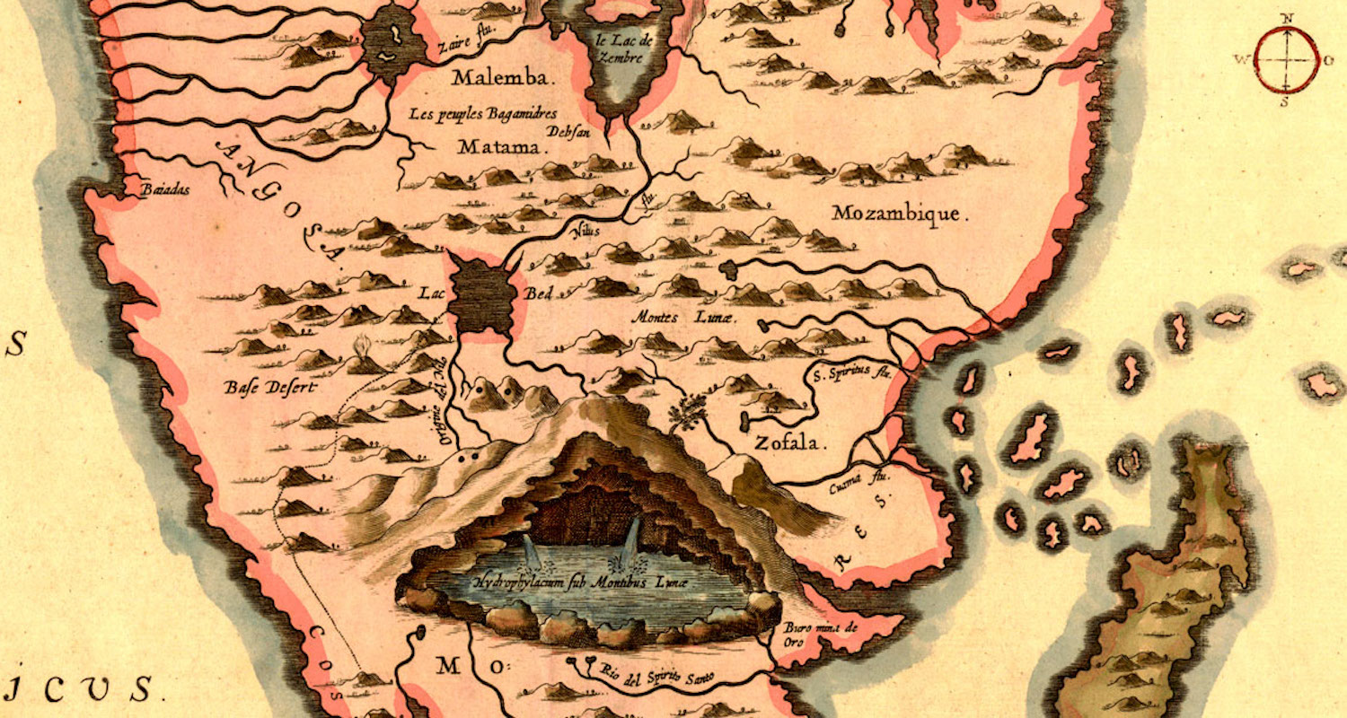 Image from Athanasius Kircher's 1655 map identifying the source of the Nile in a clever cut-away view of Africa. The river flows out from under the Mountains of the Moon and through Ethiopian lakes. Image from    here.