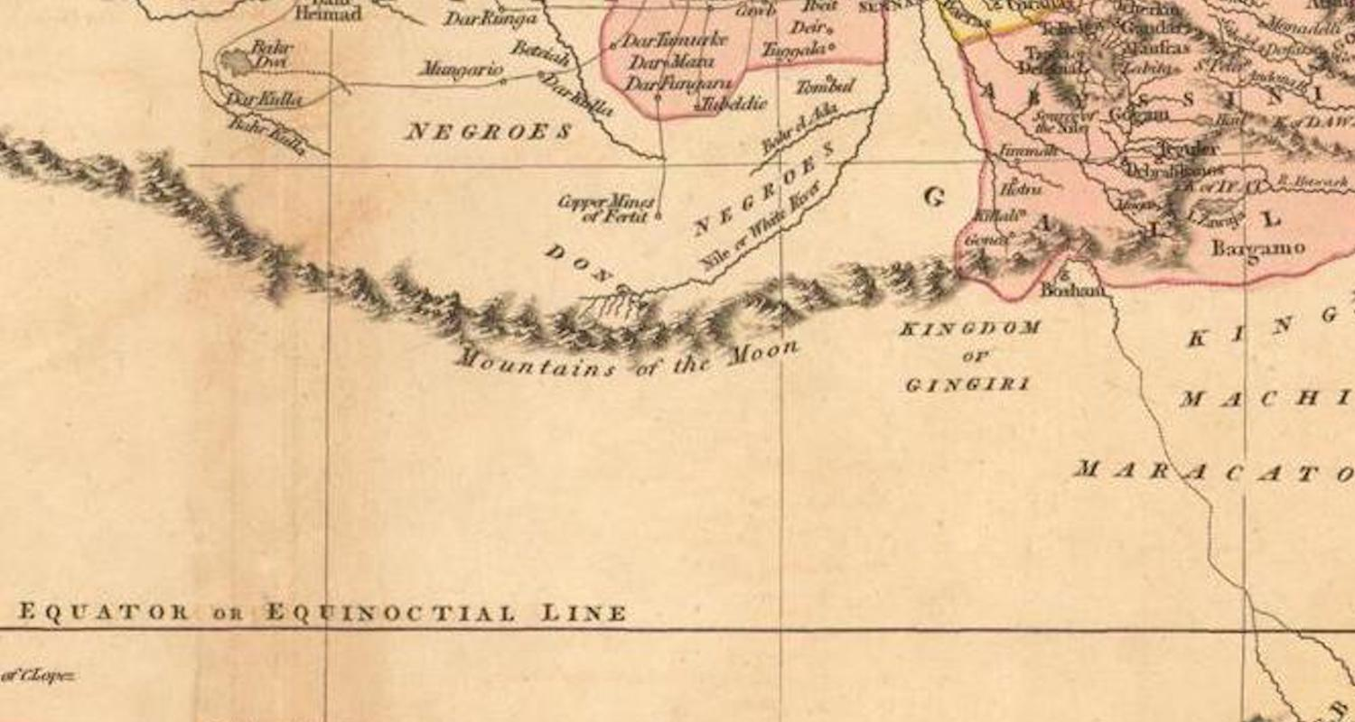 """Detail from the map of John Cary, A New Map of Africa (1805). Note the """"Mountains of the Moon"""" running through the center of the image. These marked the curtain of western knowledge up to the 19th century."""