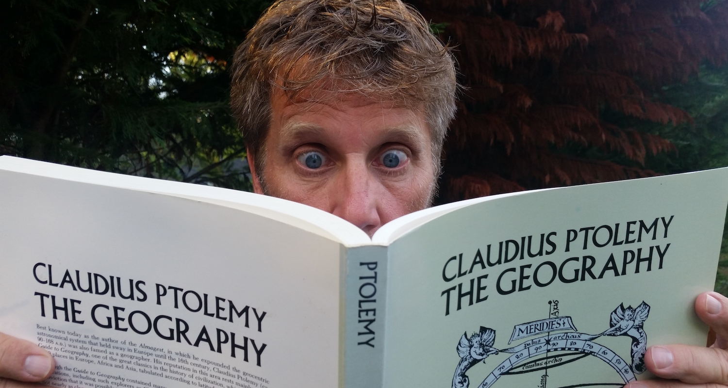 Catching up on my Claudius Ptolemy. It is madness, sheer madness, I tell you! Photograph by Vicki Ziese.