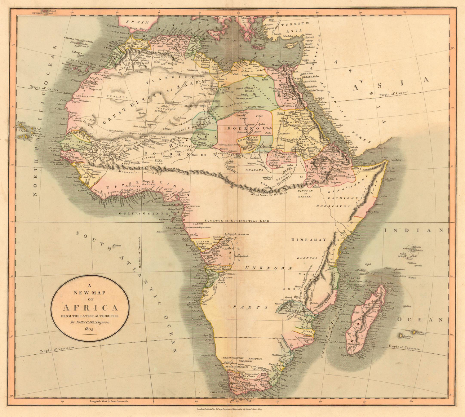 """Even late in the game most of Africa was unknown to the west. In this presentation of the continent published by John Cary in 1805 the contours of the coastline are well established as are select inland areas. Note however the imaginative line of mountains that march latitudinally from Africa's eastern horn to its southwestern bulge. In the west, this range is labeled the """"Mountains of Kong."""" In the east, they become Ptolemy's """"Mountains of the Moon."""" South of this range are """"Unknown Parts."""" Our source for this image is    here."""