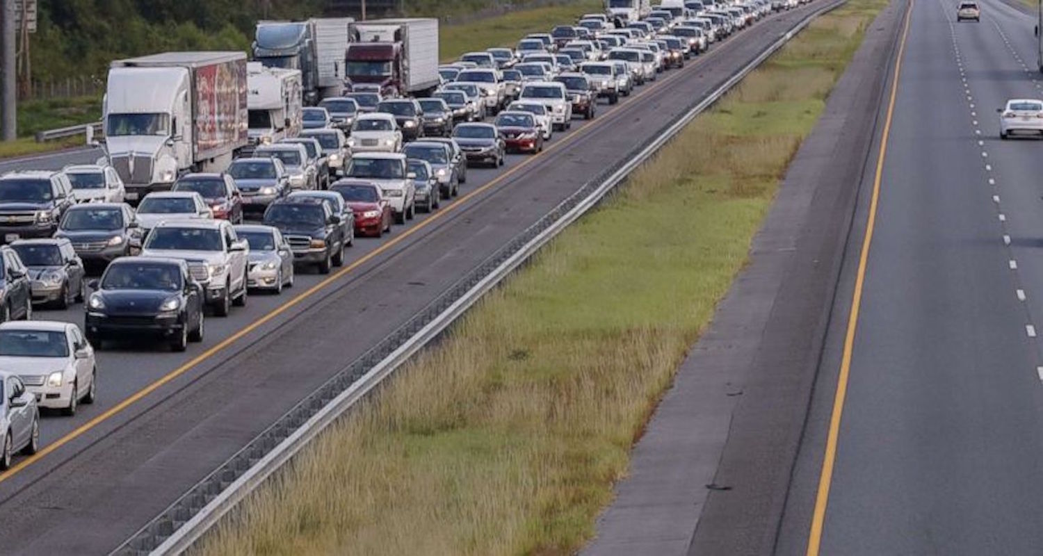 Highways are jammed as at least 1.3 million Floridians are under mandatory evacuation orders ahead of Irma. Image from  here.