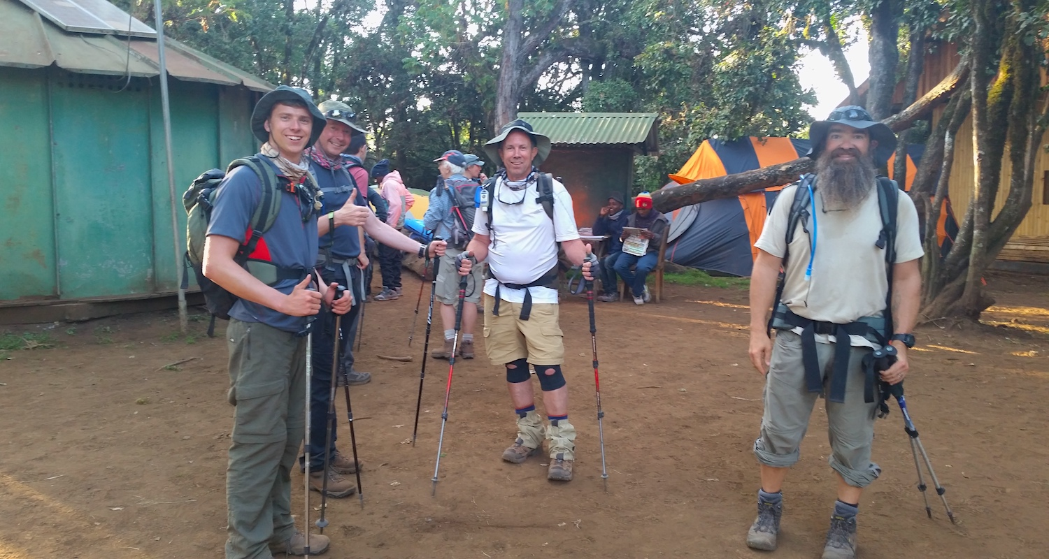 A stalwart crew ready to launch from the ranger station at Mti Mkubwa. Tommy (center) looks particularly well rested, don't you think? He should. He slept well.