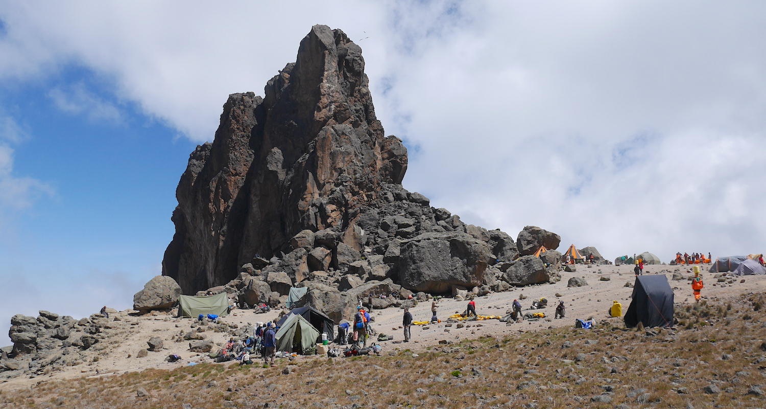 We found ourselves on a narrow shelf between the pinnacle of Lava Tower and Kibo's Western Breach.