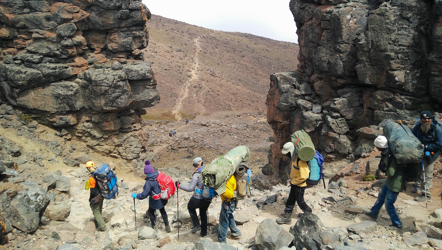 We descended from Lava Tower. The trail stretched over the horizon. Photo by teammember Nico Rogers.