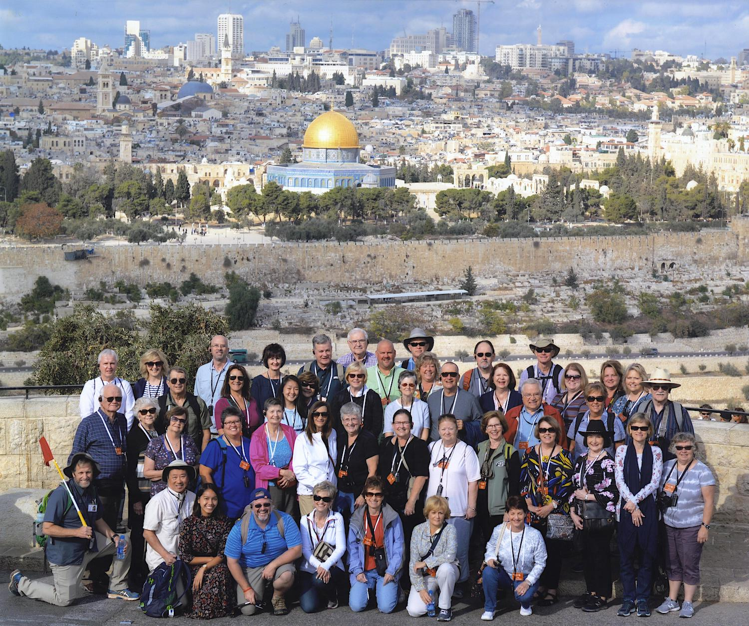Group shot from the Jerusalem overlook on the Mount of Olives.