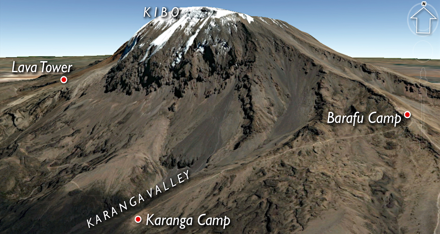 Original image of Mt Kilimanjaro modified from Google Earth.