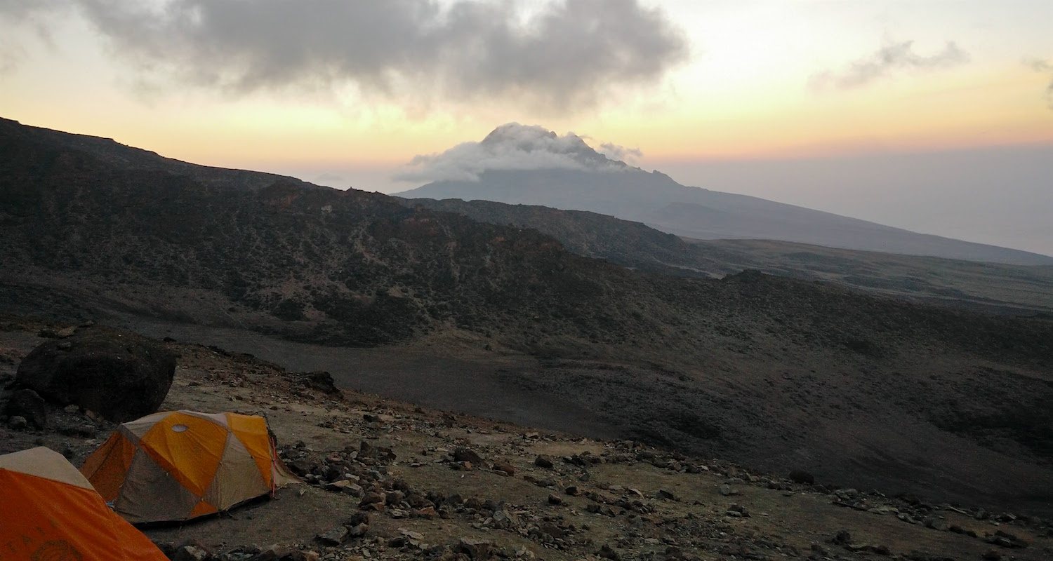 The desolate col between Kibo and Mawenzi. Evening view from Barafu Hut (15,239') to Mawenzi (16,893').