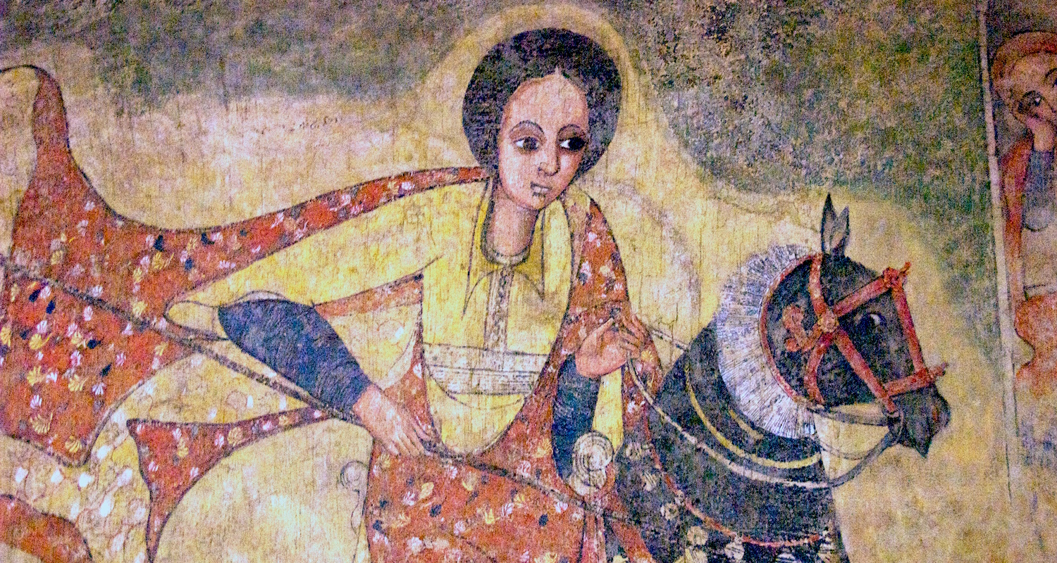 This 17th-century AD fresco was originally from a church in Lalibela, Ethiopia. It likely depicts Saint Mercurius as an equestrian figure. Other claim it is the Queen of Sheba riding to meet Solomon. The fresco is now housed in the Addis Ababa National Museum. Image detail from    here.