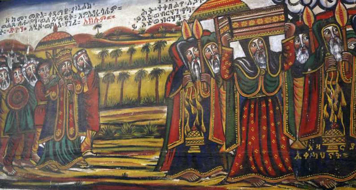 Menelik I carries the Ark of the Covenant back to Ethiopia. This picture is on display in Ethnological Museum in Addis Ababa. Digital image found    here.