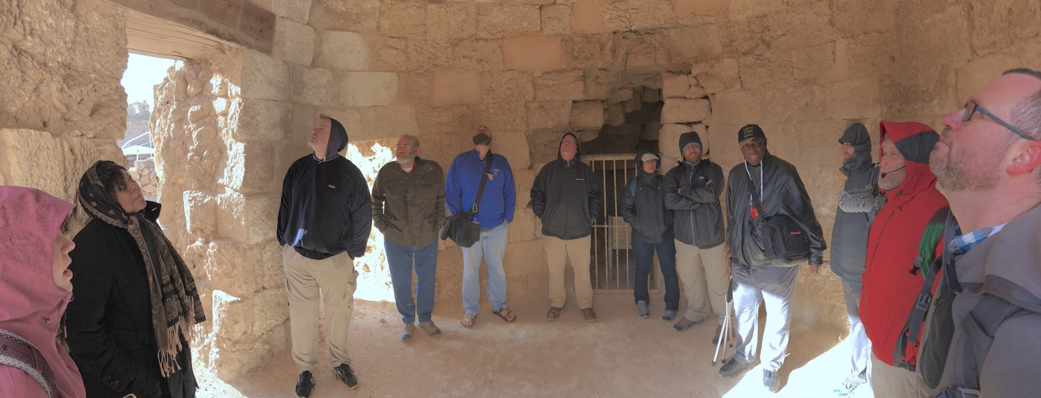 Hiding from the wind and rain in a Herodian bath. Photo by Bible Land Explorer Jay Hess.
