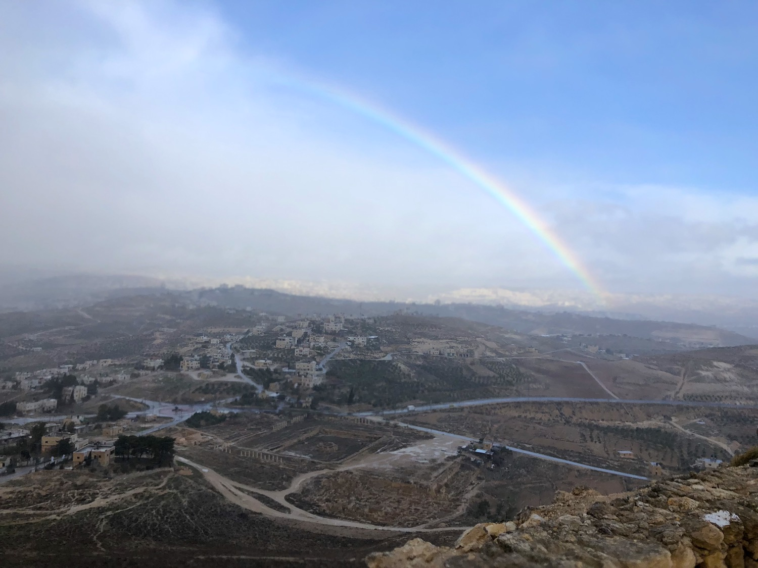 Fierce rain was followed by sun. The exchange created a rainbow over Bethlehem. Photo by Bible Land Explorer Jay Hess.