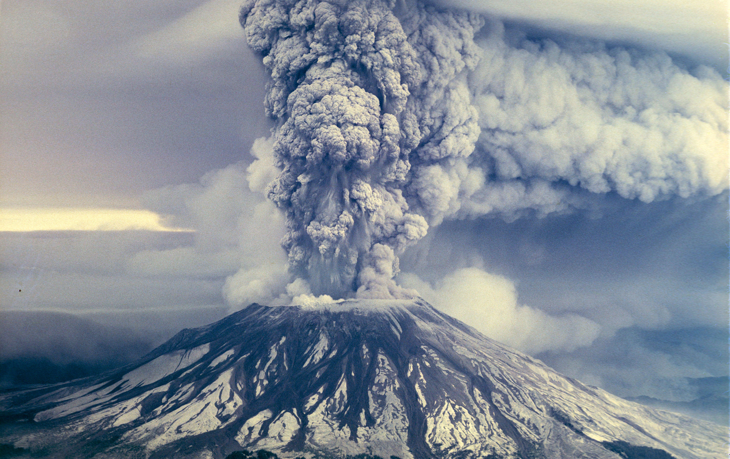 Mount St Helens in Washington State erupted on May 18, 1980. It was a day I'll never forget. An estimated 540 million tons of ash were propelled into the sky. This fabulous image was found  here  (accessed 2/1/18).