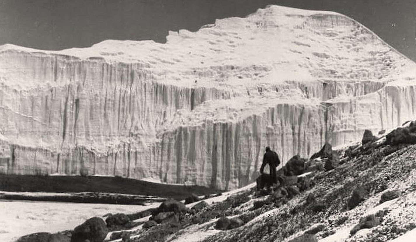 "Image  from 1950 labeled ""East Africa - Mt. Kilimanjaro Crater. Eternal Ice on the Equator."" Unfortunately this ice is not as eternal as once believed. Image from  here."